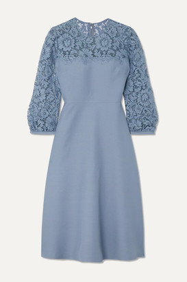Valentino Guipure Lace-trimmed Wool And Silk-blend Crepe Midi Dress - Blue