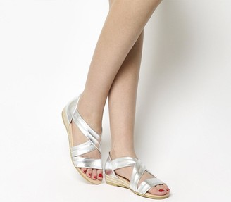 Office Hallie Cross Strap Espadrilles Silver Leather