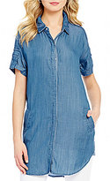 Chelsea & Theodore Point Collar Short Sleeve Chambray Tunic