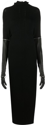 Gianfranco Ferré Pre Owned 1990s Leather Gloves Turtle Neck Dress