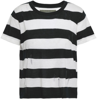 Enza Costa Distressed Striped Knitted Top