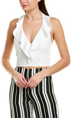 Alice + Olivia Dannette Ruffled Silk-Blend Crop Top