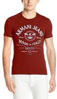 Armani Jeans Men's Extra Slim Fit Foil Print Crew-Neck T-Shirt