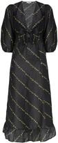 Ganni floral stripe midi dress