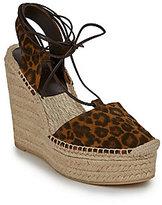 Saint Laurent Leopard-Print Suede Espadrille Wedge Sandals