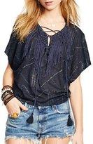 Denim & Supply Ralph Lauren Womens Macrame Trim Fringe Pullover Top Navy S