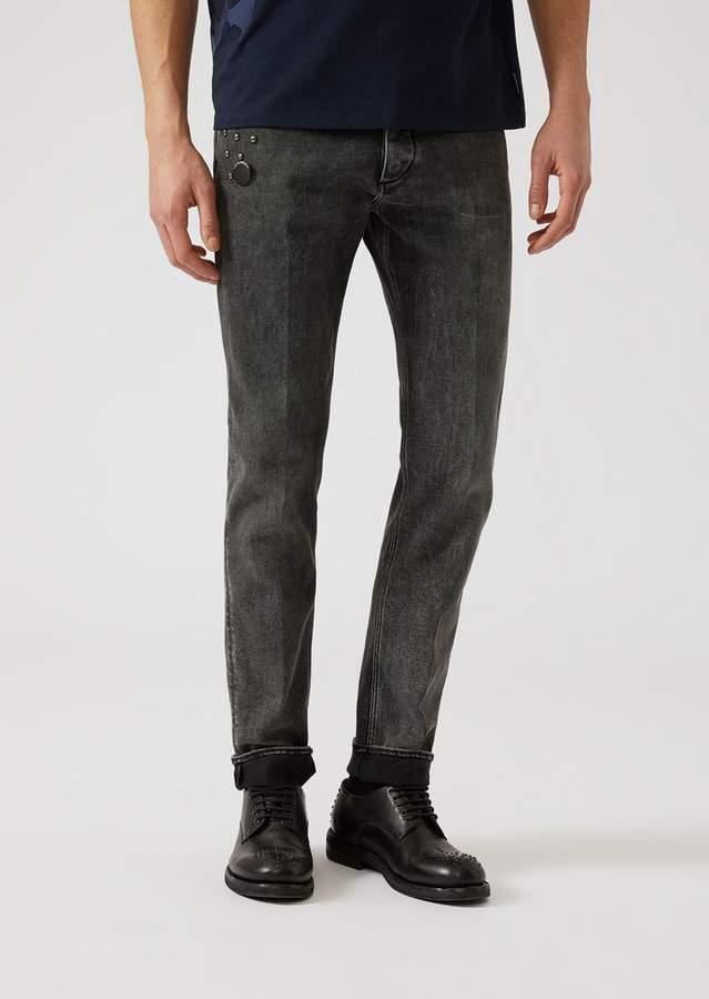 Emporio Armani J00 10.5 Denim Jeans With Decorative Studs