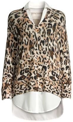 Brochu Walker Leopard Print Twofer Sweater