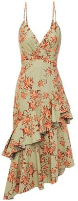 Johanna Ortiz Rhapsodie Oriental Asymmetric Tiered Floral-print Cotton-poplin Midi Dress