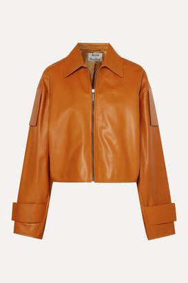 Acne Studios Lozoa Cropped Leather Jacket - Light brown