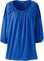 Lands'end Women's Plus Size Cold Shoulder Shirred Tunic