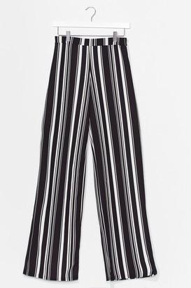 Nasty Gal Womens The Doppler Effect Striped Wide-Leg Trousers - Black - 6