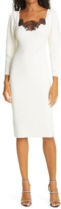 Self-Portrait Ivory Lace Puff Long Sleeve Sweater Dress