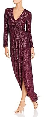 Aqua Sequin Faux-Wrap Gown - 100% Exclusive