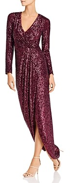 Aqua Sequin Faux-Wrap Gown - 100% Exclusive
