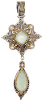 Konstantino Sterling Silver & 18K Gold Bezel Set 3mm Pearls & Faceted Agate Drop Pendant
