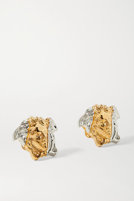 Versace Medusa Gold And Silver-tone Earrings - one size