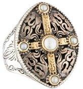 Konstantino Two-Tone Cross Pearl Ring