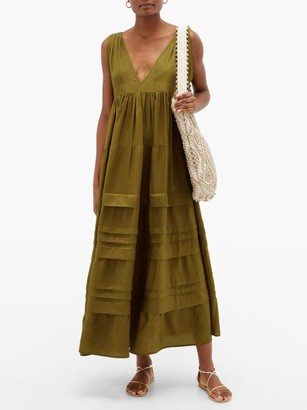 Anaak - Airi Pintucked Silk-habutai Maxi Dress - Olive Green