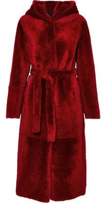 Yves Salomon Reversible Belted Shearling Hooded Coat
