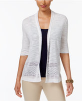 Charter Club Crochet-Trim Open-Front Cardigan, Only at Macy's