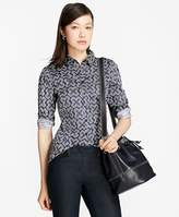Brooks Brothers Petite Geometric-Print Tailored-Fit Shirt
