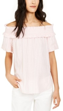 Tommy Hilfiger Striped Ruffled Off-The-Shoulder Top