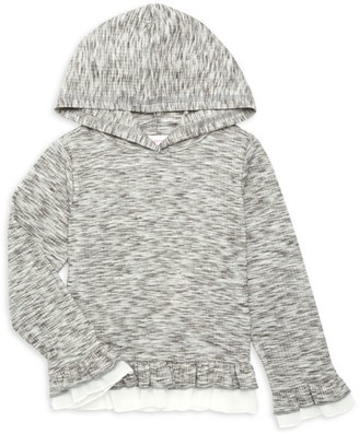 Design History Girl's Ruffle-Trim Hooded Top