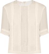 Giambattista Valli Lace-panelled silk-georgette blouse