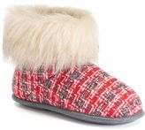 Cuddl Duds Women's Abstract Faux-Fur Bootie Slippers