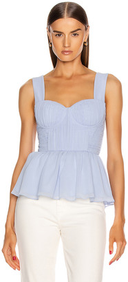 Self-Portrait Sleeveless Chiffon Top in Light Blue | FWRD