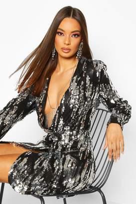 boohoo All Over Sequin Blazer Dress