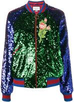 Gucci sequin embellished bomber jacket - women - Cotton/Polyamide/Spandex/Elastane/metal - 40