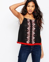 Asos Button Through Cami With Embroidery Detail And Fringe Hem