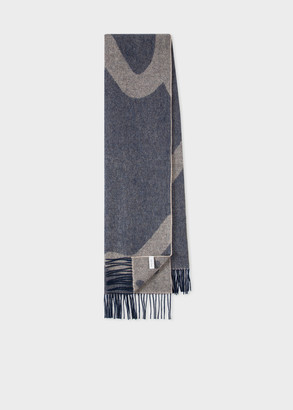 Paul Smith Men's Beige 'Paul Smith Logo & Polka Dot' Double-Sided Scarf
