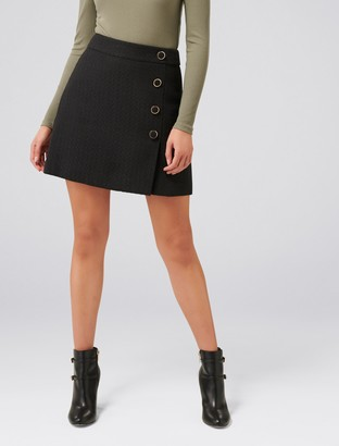 Forever New Zoey Button Front Boucle Mini Skirt - Black - 10