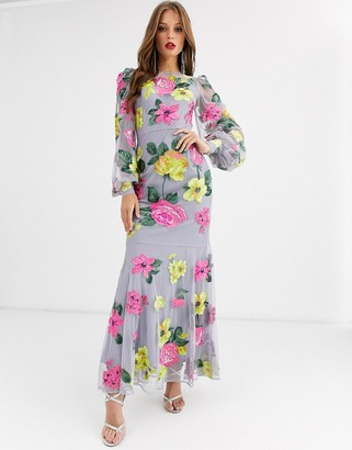 Asos EDITION bright floral embroidered maxi dress