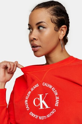 Calvin Klein Womens Red Round Logo Sweatshirt By Red