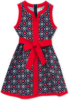 Rare Editions Textured Floral-Print Dress, Toddler & Little Girls (2T-6X)
