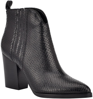 Marc Fisher Annabel Snake-Print Ankle Booties
