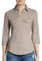 James Perse Ribbed Panel Button Front Top