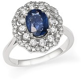 Bloomingdale's Diamond Halo and Sapphire Ring in 14K White Gold