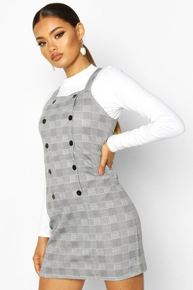 boohoo Dogtooth Button Pinafore Dress