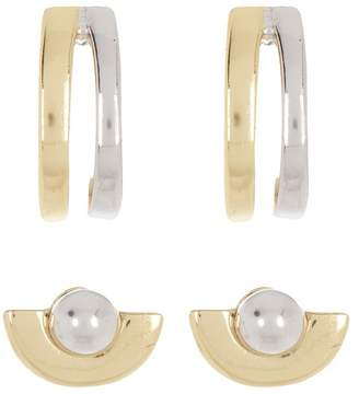 Argentovivo 18K Gold Plated Sterling Silver & Sterling Silver Two-Tone Stud Earrings - Set of 2