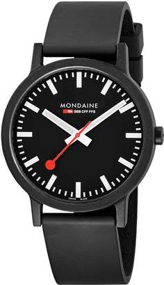 Mondaine Swiss Made Essence Sustainable Black with Luminous Hands 41mm Dial Black Renewable Raw Material Strap Watch