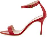 Manolo Blahnik Chaos Patent Ankle-Strap Sandal, Red