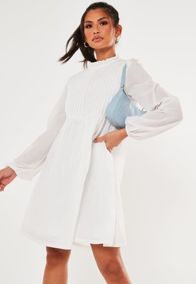 Missguided Tall White Pleat Front Smock Dress