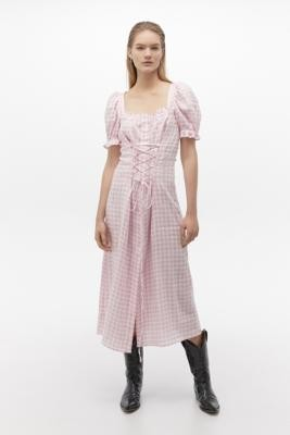 Sleeper Marquise Gingham Midi Dress - Pink XS at Urban Outfitters