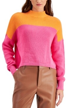 Bar III Cotton Colorblocked Mock-Neck Sweater, Created for Macy's