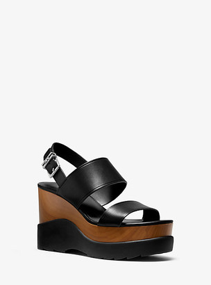Michael Kors Rhett Leather Wedge Sandal